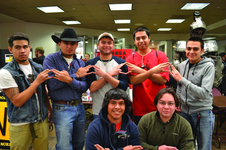 Omega+Delta+Phi+displaying+their+letters+in+the+JBK+during+rush+week.+Photo+by+Alex+Montoya.