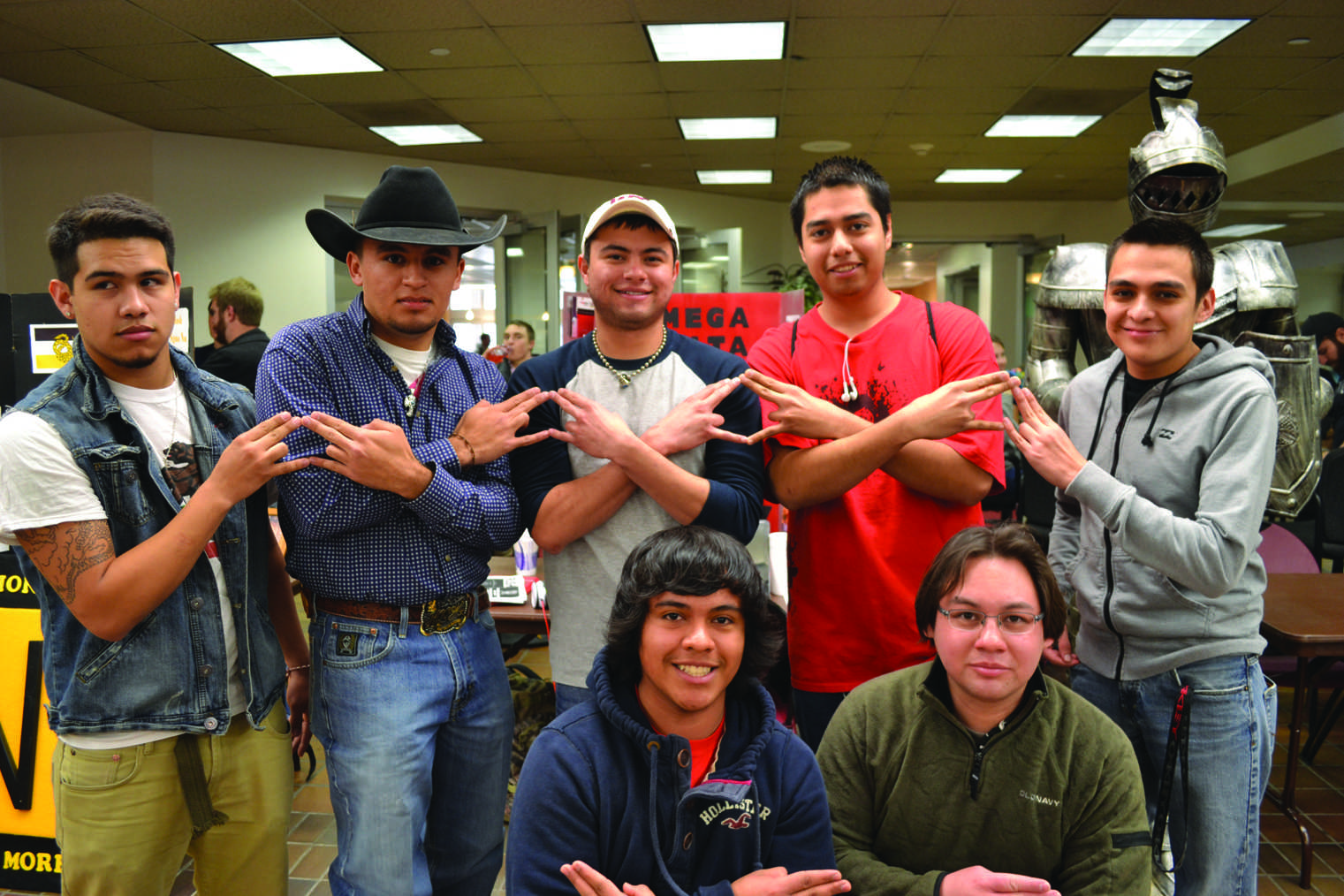 Omega Delta Phi displaying their letters in the JBK during rush week. Photo by Alex Montoya.