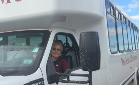 The woman behind the wheel of WT's shuttle bus