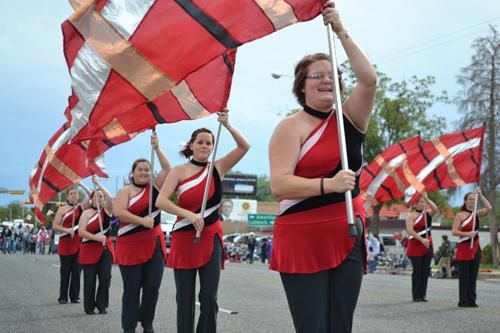 WT's Colorguard marched at the Homecoming parade.