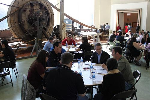 Congressman Mac Thornberry interacting with one of the groups working on the federal budget. Photo courtesy of Cary Wright.