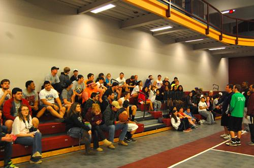 Students+gathering+to+watch+the+Dodgeball+tournament+held+on+Jan.+24.+Photo+by+Thomas+Koenig.