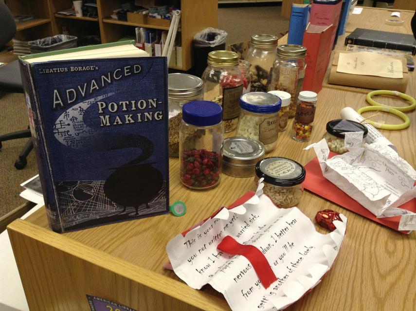 Harry Potter paraphenalia displayed at