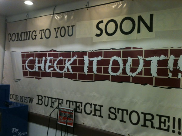 The opening of the new tech store was delayed until further notice. Photo by Ashley Hendrick.
