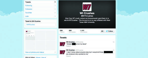 @WTCrushes had more than1,000 followers as of April 13. Screenshot by Preston Thomas.