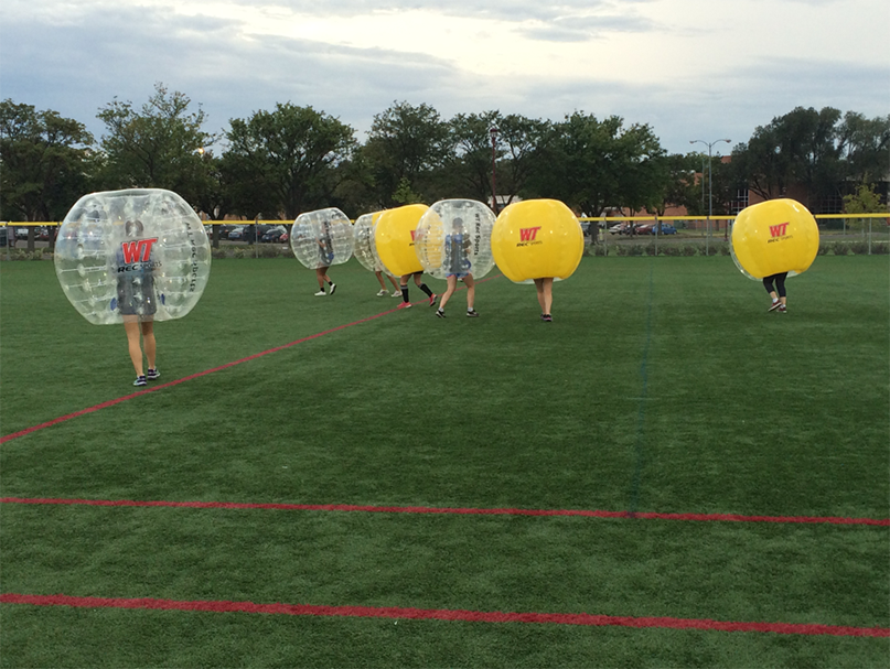 Students recently played in the first ever bubble soccer tournament at WT.