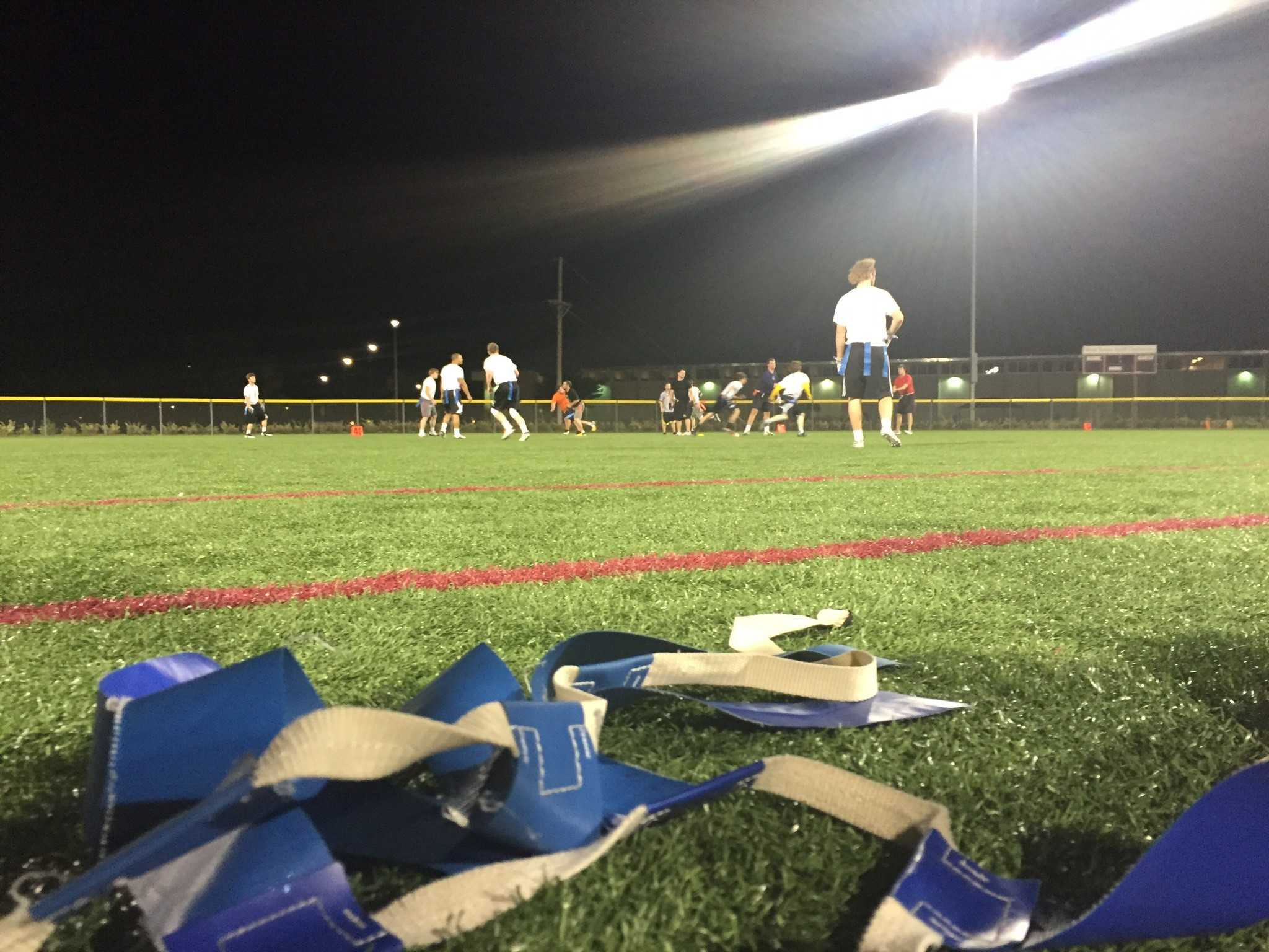 WT students played flag football on a recent evening.