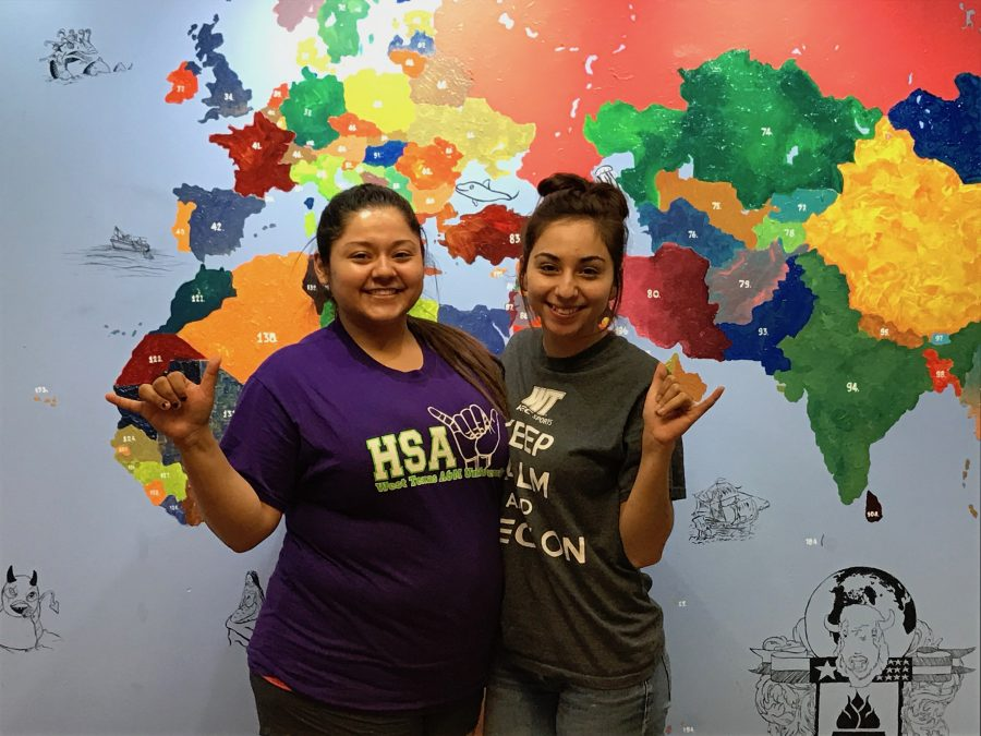 Hispanic Student Association President and Vice President Gabriela Orona and Kathy Saenz