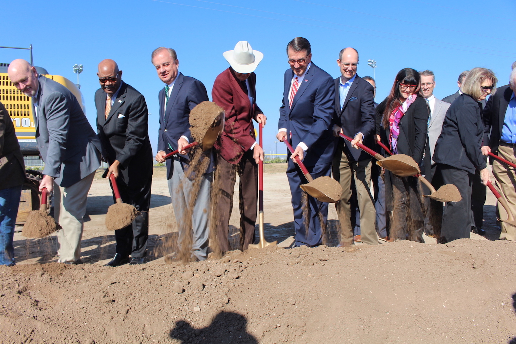 WTAMU President, Dr. Walter Wendler officially breaks ground at the site the future Agricultural Sciences Complex.