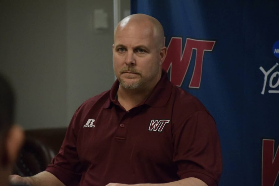 West+Texas+A%26M+head+football+coach+Hunter+Hughes+discusses+the+recruiting+class+on+Feb.+1+in+the+Buffalo+Room+at+the+First+United+Bank+Center.