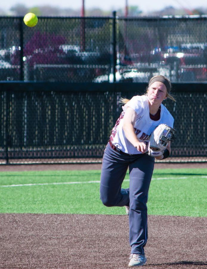 Freshman shortstop Alyx Cordell throws to first during the game against Midwestern State on Mar. 26 at Schaffer Park.