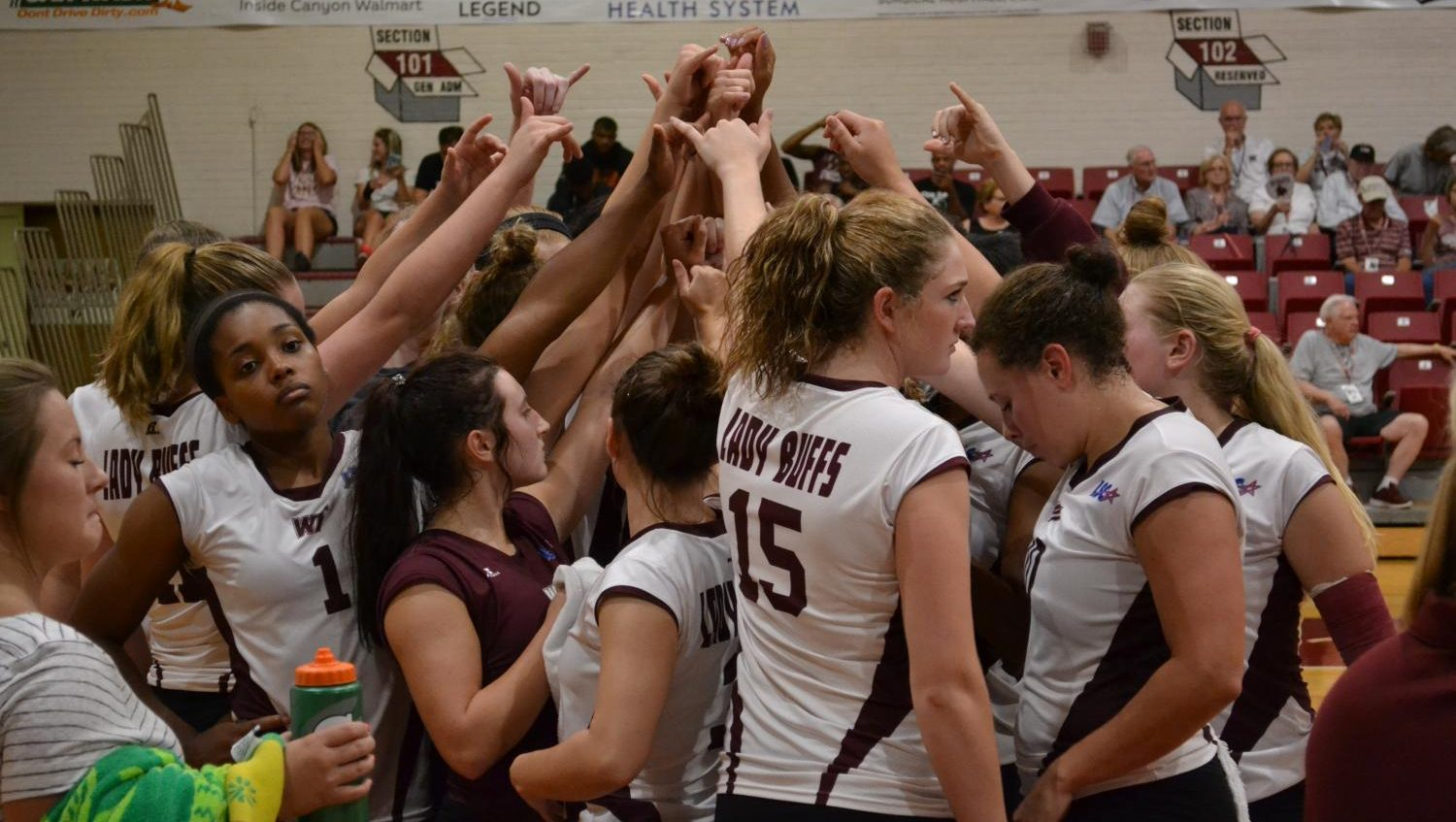 The+Lady+Buff+volleyball+team+break+out+of+a+timeout+during+the+game+against+Nebraska-Kearney+at+The+Box
