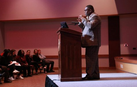 """Dr. Paul Frazier speaks during his """"Black History Yesterday and Today"""" speech on Thursday, Feb. 8 at Legacy Hall in the JBK Student Center."""