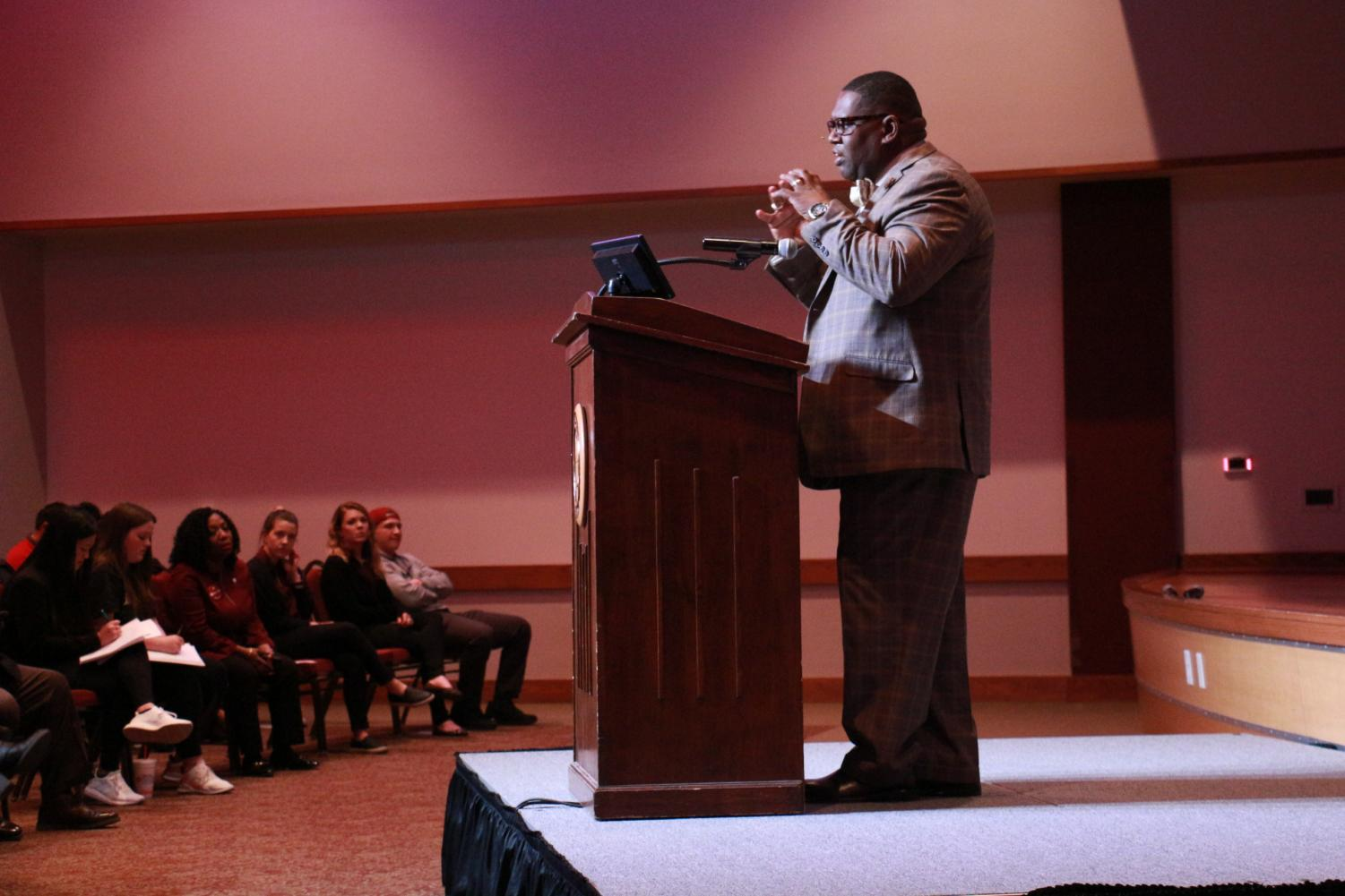 "Dr. Paul Frazier speaks during his ""Black History Yesterday and Today"" speech on Thursday, Feb. 8 at Legacy Hall in the JBK Student Center."