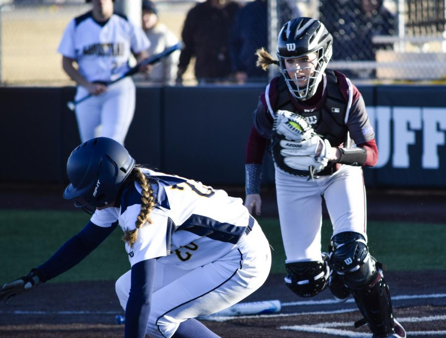 West+Texas+A%26M+catcher+Shanna+McBroom+chases+down+an+Augustana+runner+attempting+to+score.+The+Ldy+Buffs+will+rely+on+senior+leadership+and+experience+in+attempt+to+get+back+on+the+big+stage+of+the+World+Series.