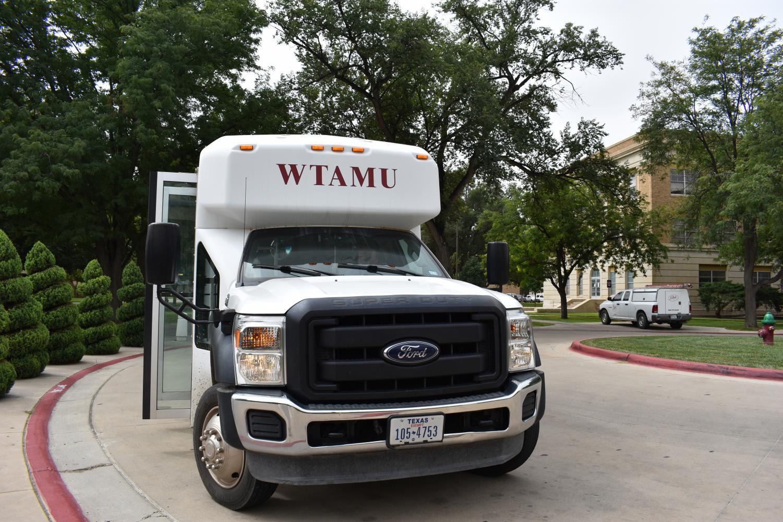 WTAMU shuttle bus outside the Jack B. Kelley Student Center