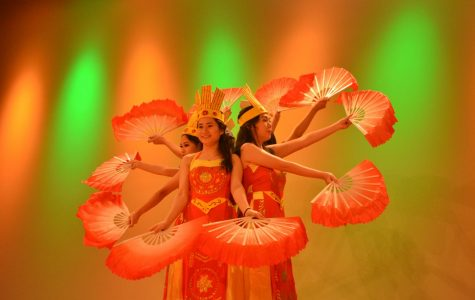 """Members of the Vietnamese Student Association performed a traditional dance to the song """"Dat Nuoc Loi Ru."""""""