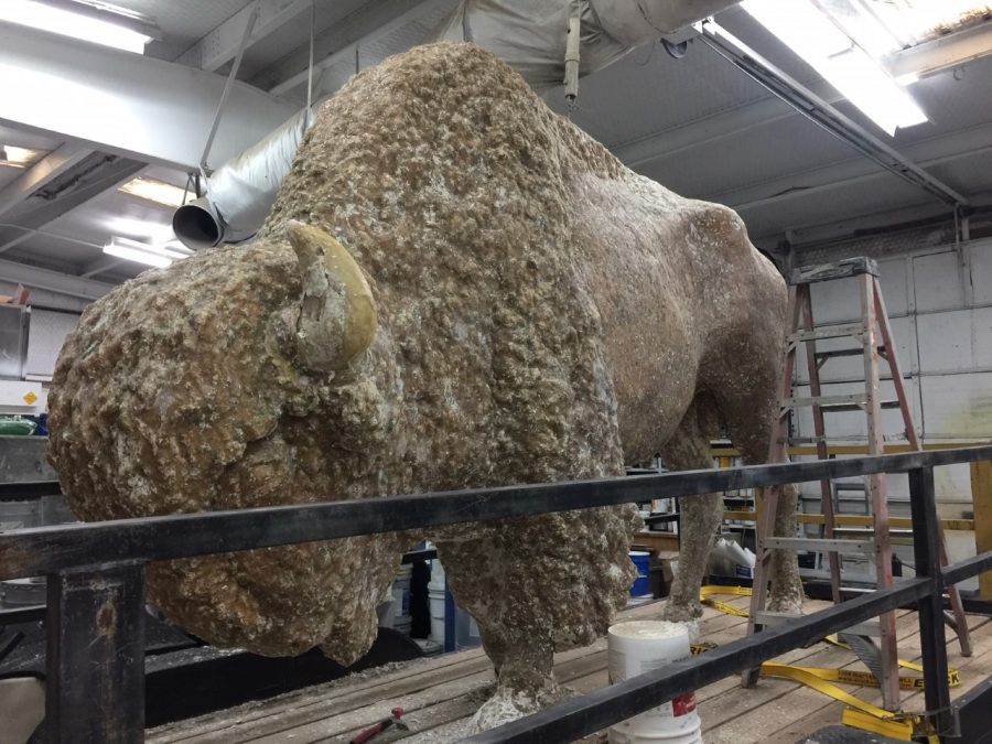 Photo provided by Becky Stogner The White Buffalo during the restorative process after layers of paint has been taken off.