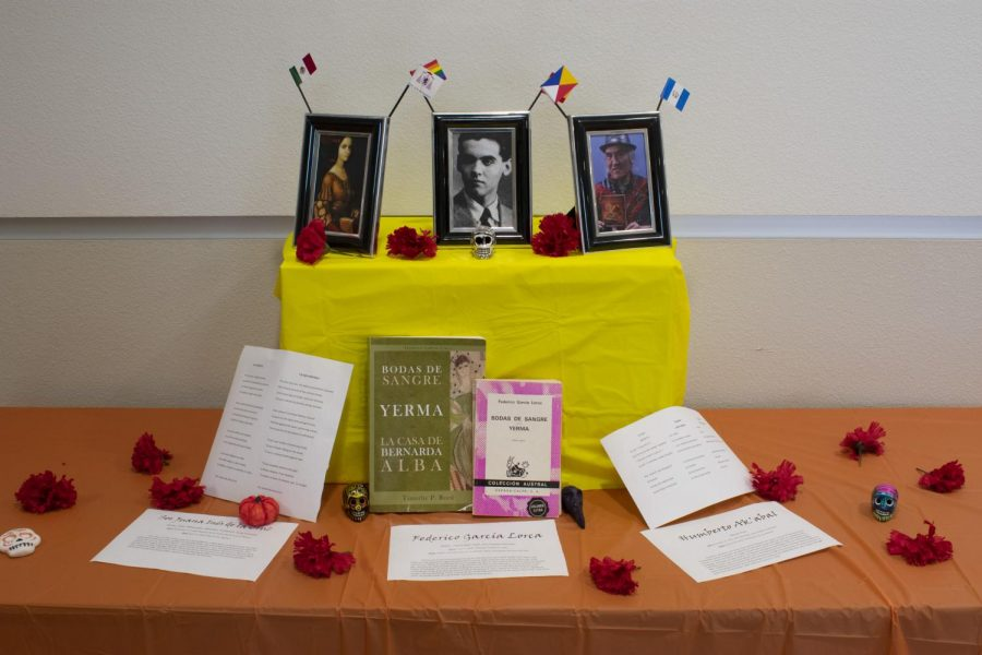 Ofrenda of Latin American poets and authors located on the 3rd floor of the classroom center.