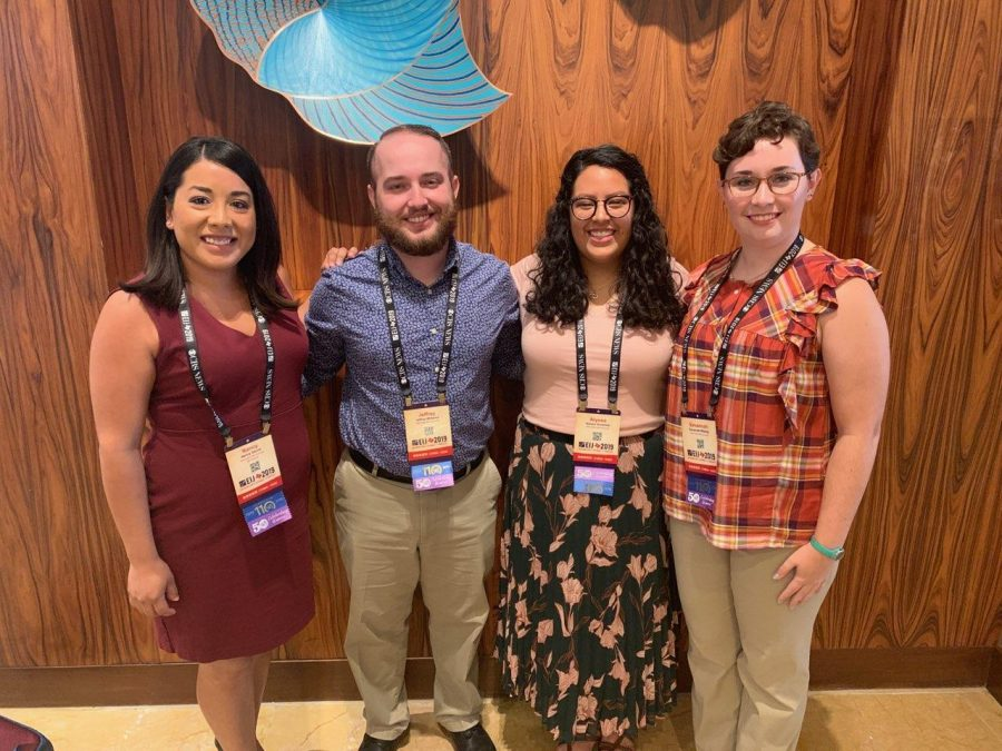 Photo Courtesy of The Prairie News Staff (Left to right) Advisor Dr. Nancy Garcia, Senior Reporter Jeffrey Williams, Sports Editor Alyssa Gonzales and Features Editor Savannah Wesley at the EIJ National Conference in the Grand Hyatt Hotel in San Antonio, Texas.