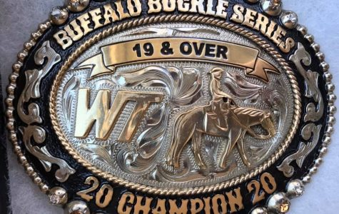 Courtesy WTAMU Buffalo Buckle Series Facebook Page/The buckle that will be awarded to the high point rider for the 19 & Over division.