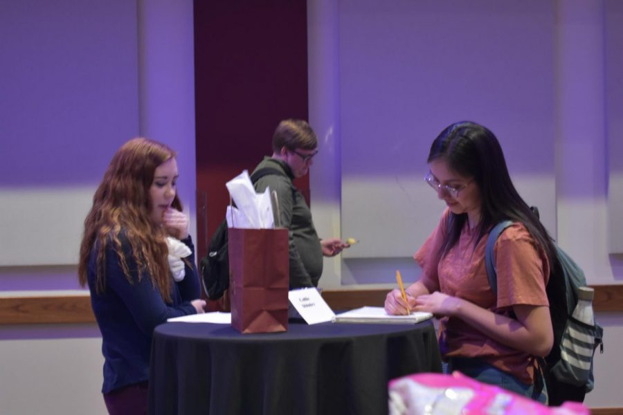 Randall High School English teacher Callie Shipley speaks to a WTAMU student about her career in education.