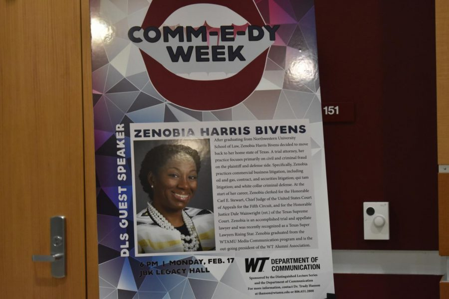 Poster+promoting+Zenobia+Harris+Bivens+as+a+guest+speaker+during+Communication+Week.
