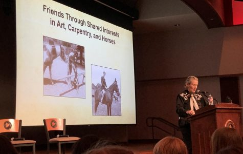 Dr. Temple Grandin during her lecture on Tuesday/Photo by Olivia Spiezio, reporter