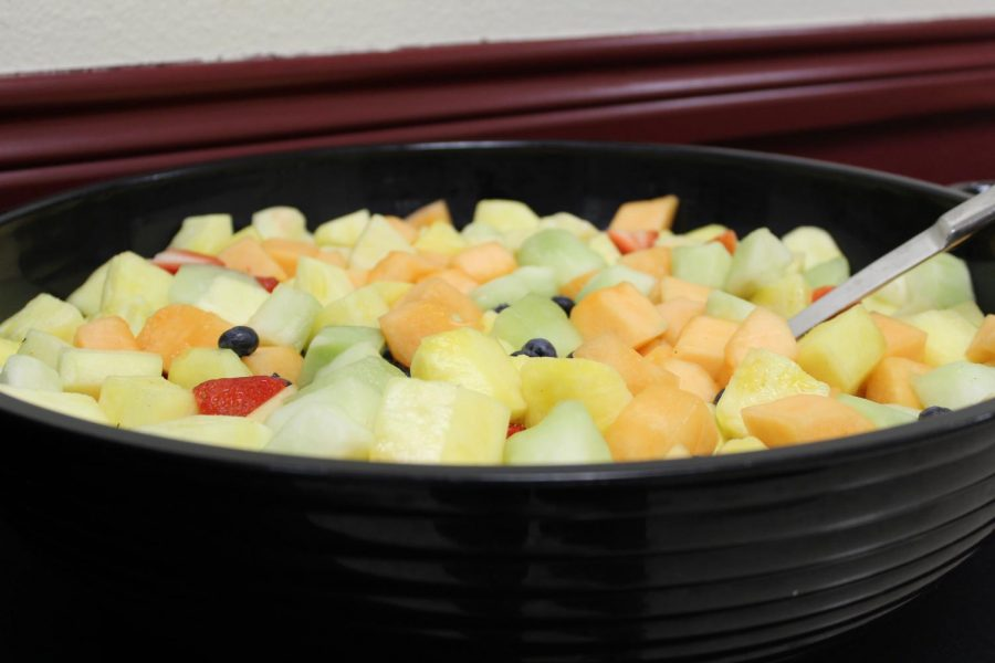 Fruit salad was a popular item at Breakfast for Dinner which was held at 6 p.m.