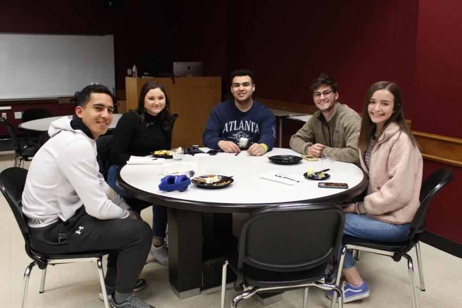 WTAMU students enjoy Breakfast for dinner in overflow in FAC 177.