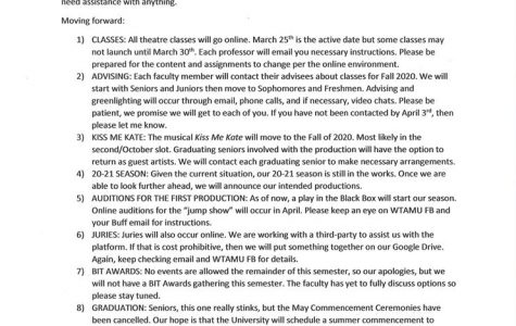 On March 13, WT Theatre posted this notice to their Facebook page 10 days after the first rehearsal for Kiss Me, Kate, which has been postponed until fall 2020.