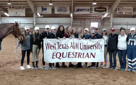 WTAMU Equestrian's Hunt Seat team celebrates their success at Texas Tech this weekend.