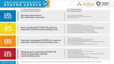 This is Amarillo area COVID-19 chart, it shows the levels and precautions that the area will try to follow. Red being the highest level of quarantine.