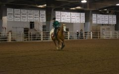 Senior Rayleigh Rowell shows her horse in the section A open reigning class of the competition.