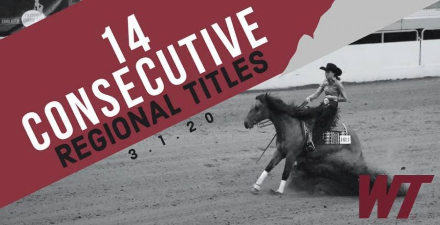WTAMU Equestrian's Western team wins 14 consecutive regional titles in the longest winning streak in WT Athletic history.