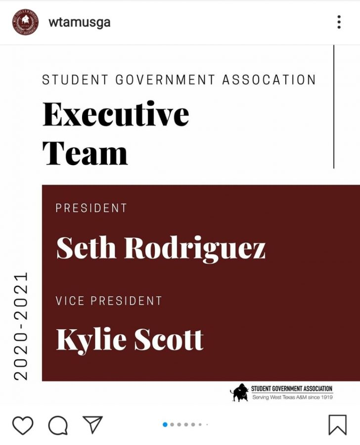 WTAMU%27s+Student+Government+announced+on+Instagram+that+Seth+Rodriguez+and+Kylie+Scott+will+be+the+successors+of+Student+Body+President+Colton+Bourquin+and+Vice+President+Scout+Odegaard.