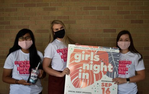 Girls Night In took place Wednesday evening, September 16. (Left to right) Tomi Moralez, Laiken McClure, and Kelsey Leseman prepare as they anticipate the start of this event.
