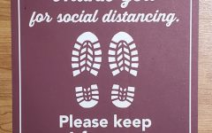 Floor stickers are one of the various ways the WTAMU is encouraging social distancing on campus.