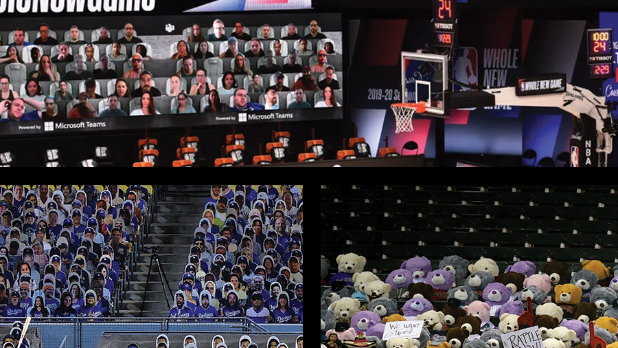 Photos depicting how different major sports have addressed fans and social distancing.