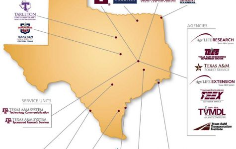 A map of the universities and agencies that are a part of the Texas A&M system.