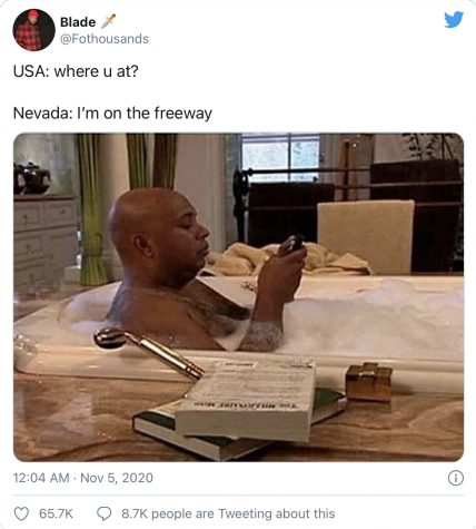 Many memes were posted comparing the counting times between different states, especially Nevada.