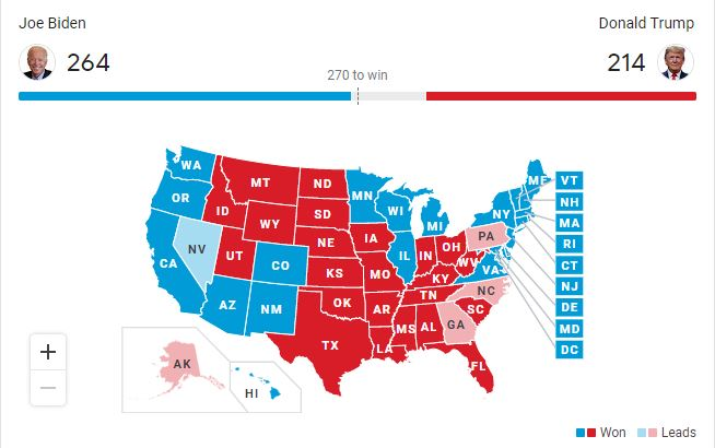The+map+of+the+United+States+color-coded+according+to+the+electoral+points+each+candidate+had+garnered.+All+eyes+were+on+Nevada.