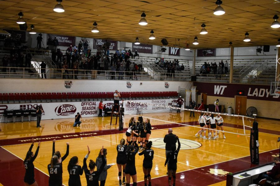 After LCU's final attempt at coming back, Lady Buff's celebrate their first home when. The final score of the 3rd set is 25-17.