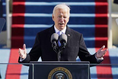 Biden giving his inaugural address. Courtesy of NBC News.