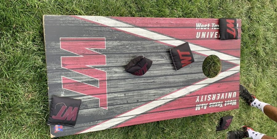 Photo of a Corn hole board with pouches on it