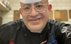 A picture of chef Julio Rubio in the dining hall
