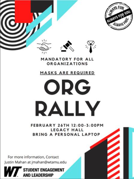 West Texas A&M put on their biannual Org Rally Feb. 26 12-3.