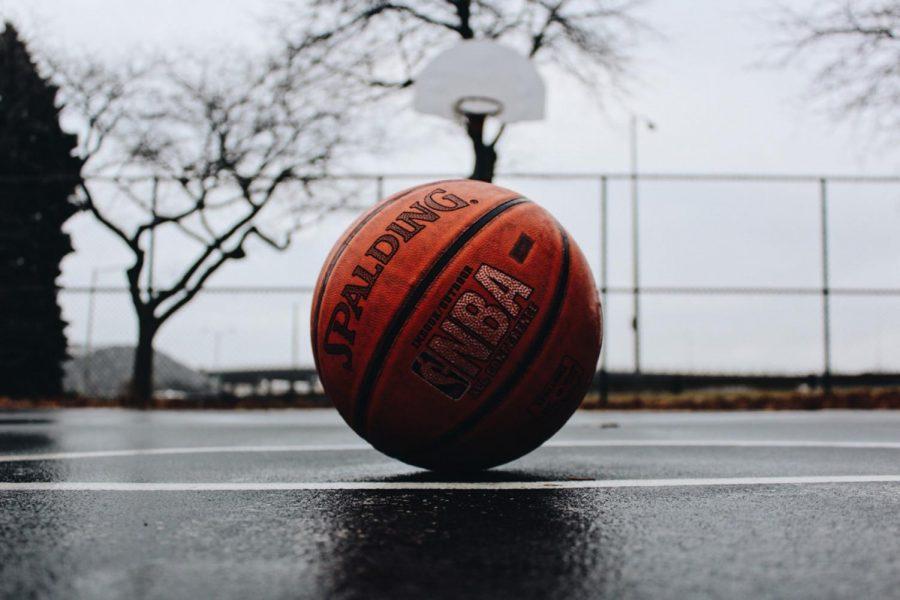 NBA+Spalding+basketball+in+court