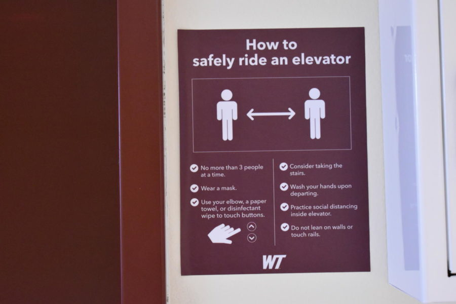 Due to Covid-19 instructions on how to safely ride a elevator are put into place