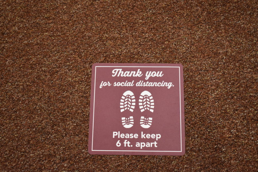 Social Distancing markers are placed around WTAMU reminding to please social distance